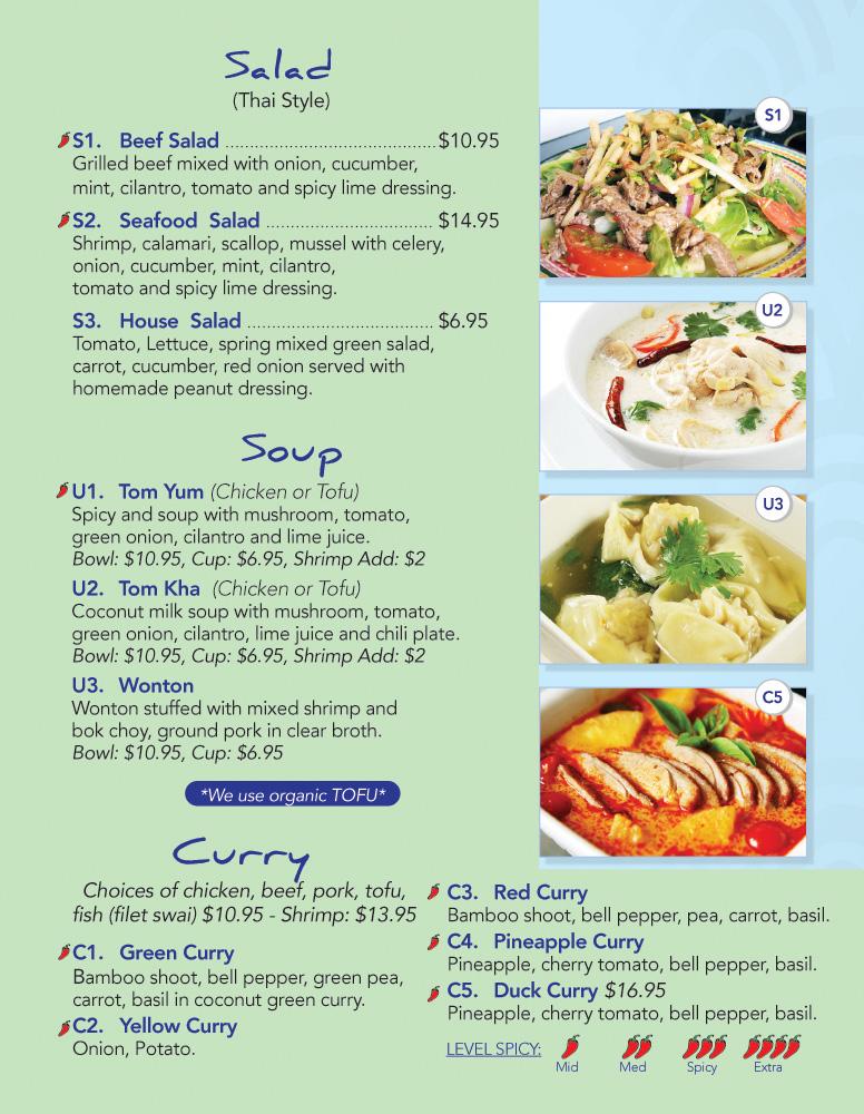 Rice Thai Kitchen Lunch Menu